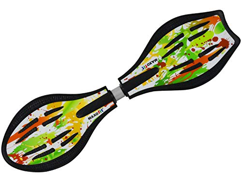 MAXOfit Waveboard Pro Close XL | TÜV/GS geprüft | Bis 100 kg | Mit LED Leuchtrollen, Tasche und Zubehör für Kinder