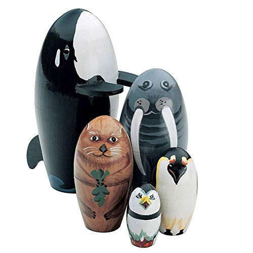 Luo-401XX 5 Stücke Holznistpuppen, Wal Pinguin Tier Russische Matroschka Stapeln Puppen Kinder Kinder Spielzeug Geschenk Dekoration