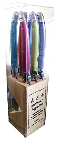 Laguiole Jean Dubost Steak Knives Set Of 6 with Wooden Knife Holder (Assorted Colors)
