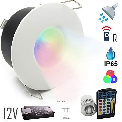 Einbaustrahler IP65 LED Chrom Duschkabine Badstrahler Rgb 5 W 12 V Netzteil Bianco