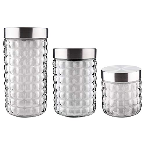 Conjunto de Potes de Vidro com Tampa Inox, Bubble, 3 Peças, Euro