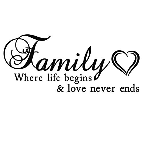 AUHOKY Family Where Life Begins & Love Never Ends Wall Decal Sticker Quotes, Removable DIY Mural Sayings Wallpaper Home Decor for Living Room Bedroom – Warm & Loving Art Words (Black,C)