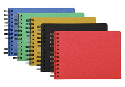 Exacompta Fotoalbum, Spiralbindung, 23 x 16 cm, 50 Seiten, schwarze Seiten, verschiedene Farben, 6 Stück