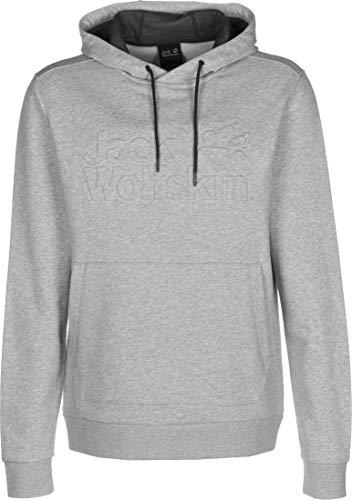 Jack Wolfskin Herren Logo Hoody M Weicher Kapuzenpullover, Light Grey, L