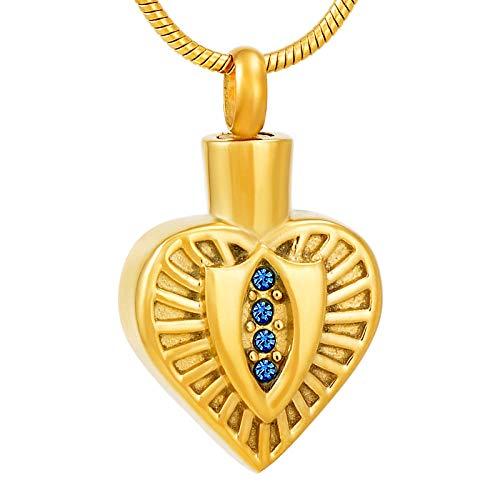 KXBY urnen voor as halsketting as hanger urne vuurbestating urne sieraden ketting voor begrafening as aandenken as hanger met blauwe steen gouden edelstah