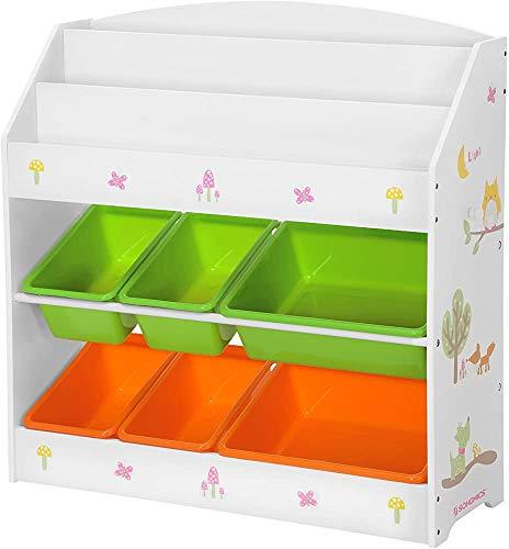 Rekonstruktionsbuch für hölzerne Kinderkalibrium, 3-stöckiges Bücherregal und 6 entfernbare Mülleimer,White