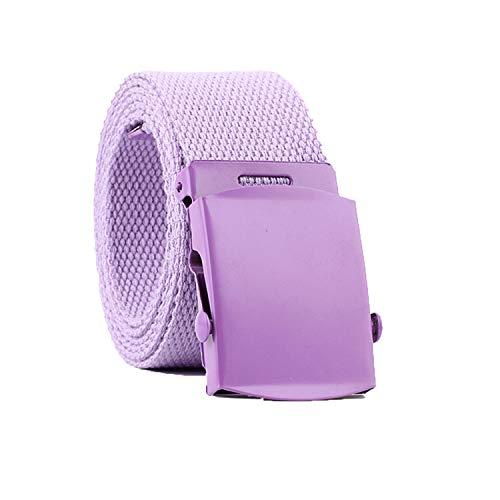 Military Tactical Belt Unisex Belt Adjustable Slide Plastic Buckle Web Canvas Belt Outdoor (Purple)