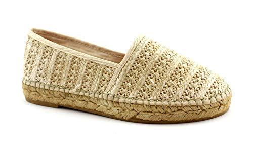 Macarena MAR198 Taupe beige Schuhe Frau Espadrilles Slip on 37