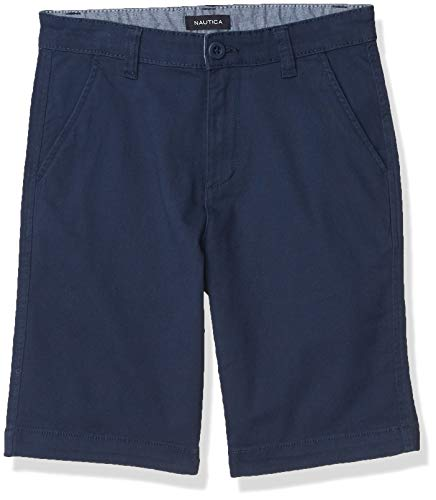 Nautica Boys' Stretch Twill Flat Front Shorts, Dark Navy, 3T