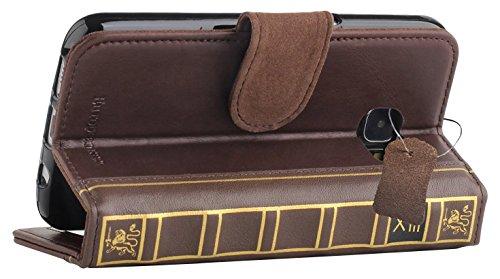 PCARO® Buch Case aus Echtleder für Samsung-Galaxy-S7 Handmade Tasche im Book Design mit Kartenfächer und Geldfach Display Schutzfolie GRATIS - ORIGINAL HÜLLE