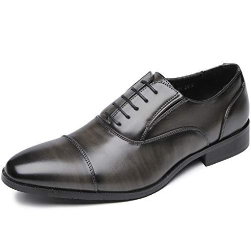 [フォクスセンス] ビジネスシューズ 軽量・撥水 ストレートチップ 紳士靴 内羽根 メンズ ブラックxグレイ 25.5cm 916-01