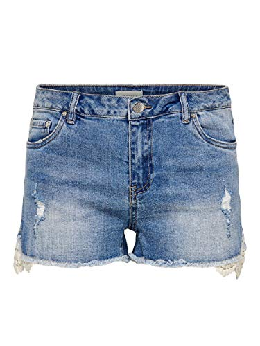 ONLY Damen Jeansshorts ONL Carmen Life Reg Lace 29Dark Blue Denim