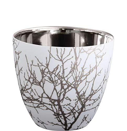 ASA 10101427 Xmas - Windlicht - Teelichthalter - Zweige - Weiss/Silber - Porzellan - Ø 7,2 cm