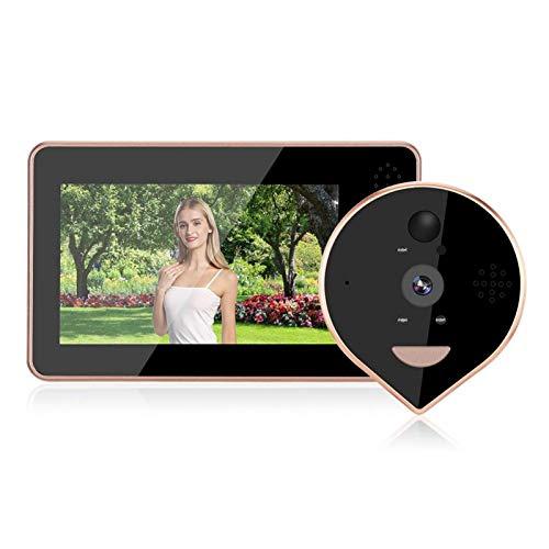 Mirilla visual, timbre de pantalla colorida de 4.3 pulgadas, visor de teléfono inteligente con WIFI, timbre de puerta con visión nocturna por infrarrojos, para apartamentos, edificios de oficinas, vil