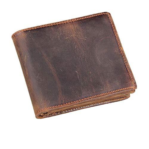 HRS Echtleder-Geldbörse für Herren, handgefertigt, Vintage-Stil, italienisch, Used-Look, groß, zweifach gefaltet, mit RFID-blockierendem ID-Fenster und Reißverschluss