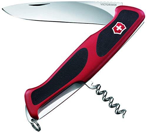 Victorinox Taschenmesser Ranger Grip 52 (5 Funktionen, Feststellklinge, Korkenzieher) rot/schwarz