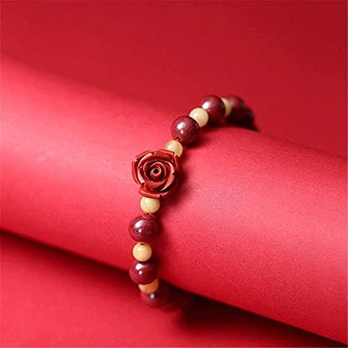 HYJMJJ Pulsera de cinabrista Natural Feng Shui Pulsera de Riqueza Púrpura Cinabar Rose Flor Flor Crudo Ámbar Atraer Brazalete de Regalos de Dinero Lucky para Mujeres/Hombres Puede trae
