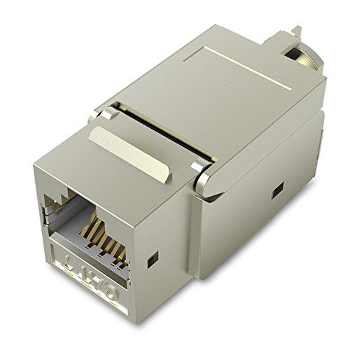 Conector Modular RJ45, VENTION Cat7 Cat6 Cat5 RJ45 8P8C Conector Keystone de Red Conector RJ45 Conector Hembra a Hembra, Carcasa de Metal, Adaptador Extensor de Cable Ethernet(2 unidades)