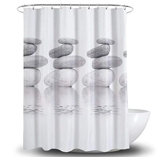 Gebaozhen douchegordijn, extra lang badkamergordijn met 12 haken, waterdicht, antibacteriële douchegordijnen, grijs, wit