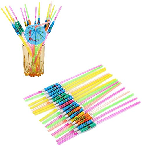hesmartly 60 Pcs Umbrella Drinking Straws,Disposable Bendable Tropical Drinking Straws for Cocktail Soft Drinks Hawaiian Beach Party Supply Mixed Color