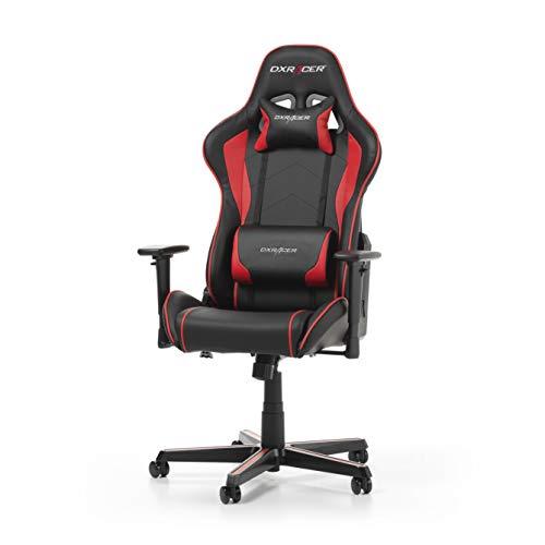 DXRacer Formula F08 Gamingstoel voor PC, ergonomische bureaustoel voor op kantoor, van kunstleer, zwart-rood