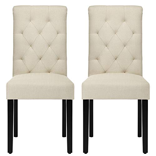 Fabric Dining Chairs with Wood Legs, NOBPEINT Modern Kitchen Chairs...