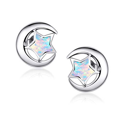Pendientes de estrella y luna de plata esterlina, pendientes de estrella de ópalo, pendiente de estrella de luna creciente para mujeres adolescentes