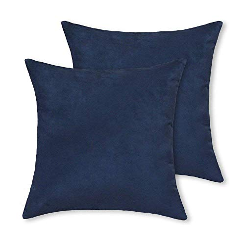 2 pcs Pack Dark Blue Throw Pillow Covers Faux Suede Ultra Soft Pillow Cushion Shells Decorative 18X18 Navy Blue Solid Color Both Sides Poly Suede European Toss Accent Pillow Cases 45X45cm