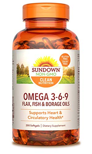Sundown Triple Omega 3-6-9, Heart and Circulatory Health, 200 Softgels (Packaging May Vary)