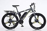 BWJL Bicicletas eléctricas para los Adultos, en Bicicletas de aleación de magnesio Ebikes de Tierra, 26'batería extraíble 350W 36V 13Ah Litio-Ion Ebike Montaña Hombres,Amarillo,13Ah80Km