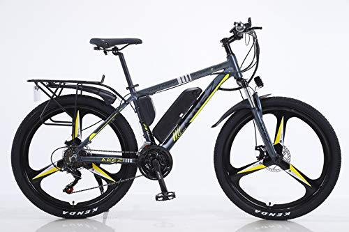 BWJL Biciclette elettriche per Gli Adulti, in Lega di magnesio Biciclette Terreno eBikes, 26'Batteria Rimovibile 350W 36V 13Ah agli ioni di Litio Ebike Mountain Men,Giallo,13Ah80Km