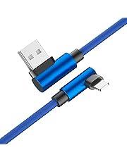 Svnaokr 90 graders nylon USB-kabel för iPhone 6 6s 7 8 snabbladdningskabel för Samsung S8 USB-laddare typ C-kabel för Huawei (blå, 1 m för mikro USB)