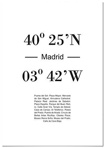 Panorama Póster Coordenadas Ciudad Madrid 21 x 30