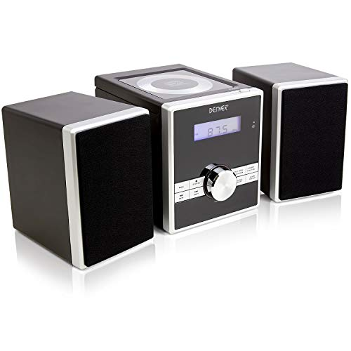 Denver MCA-230 Easy To Use Compact CD Player Mini Stereo Micro HiFi with Clock Radio Alarm, Snooze Sleep Timers, AUX IN for MP3 Player Smartphone Tablet, Full Function Remote Control