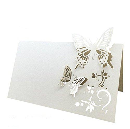 Qinlee, 50 segnaposto fai da te a forma di farfalla, in pizzo, per matrimonio, festa di fidanzamento, compleanno, decorazione, tazza di carta, tavolo da pranzo, decorazione (bianco)