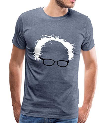 Bernie Sanders Hair and Glasses Men's Premium T-Shirt, L, Heather Blue
