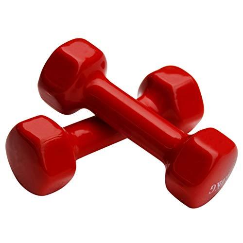 LUSTAR Juego de 2 Mancuernas Hexagonales de Neopreno, Pesas Rojas 0.5kg 1kg 1.5kg 2kg 3kg 4kg 5kg para Mancuernas y Flexiones de Fitness,Red-(1KG*2)