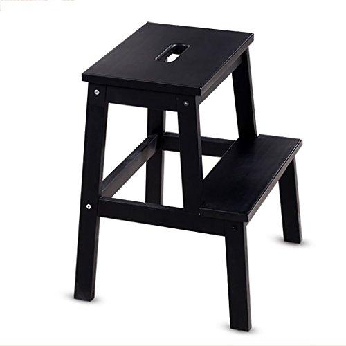 PENGFEI Pliable Stool Ladder Multifonction Usage Double 2 Étapes Bois Massif 3 Couleurs, 36 * 36 * 50 CM (Couleur : Noir)