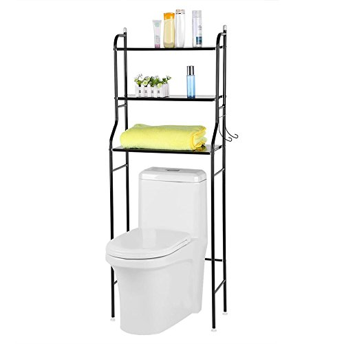 Greesen Bathroom Over Toilet Shelf Organizer, Toilet Storage Shelf Unit Freesanding Bathroom Racks and Shelves Space Saver with 2 Hooks, 3 Tier Shelves, Black