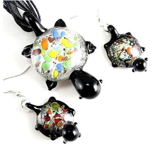 Au plaisir des Ojos - Juego de joyas de cristal soplado, diseño de tortuga, color negro