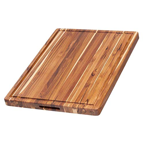 Teak Haus Edge Grain Teakwood Cutting Board with Hand Grips & Juice Canal