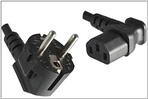 DINIC Stromkabel, Netzkabel CEE 7/7 auf C13 90 Grad abgewinkelt, 3-polig (1,80m, rechts gewinkelt, schwarz)