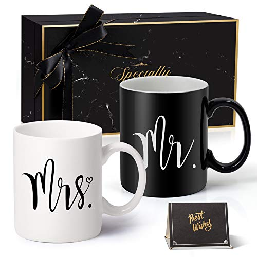 Mr and Mrs Coffee Mugs Gifts Set for Engagement-Gifts For Wedding, Couples and Married Couples Anniversary 2021 - Bride Cups 11 OZ (Black & White)