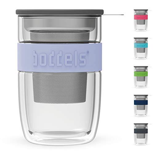 boddels Glasbecher SEEV 380ml (Lavendelblau) - Dein doppelwandiger Teebecher mit Sieb für zu Hause