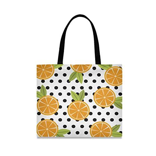 Arte De La Naranja Fruta Bolsa de Mano de Compra Reutilizable Portátil Bolsa al Hombro ecológica para viajes Mujeres Niñas
