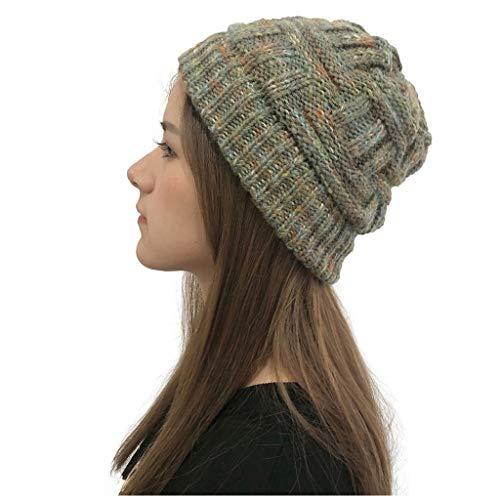 YXIU Damen Beanie Mützen, Multicolor Strickmütze Warme Winter Strickmütze Outdoor Häkelstrick Hats Beanie Mütze (Grün)