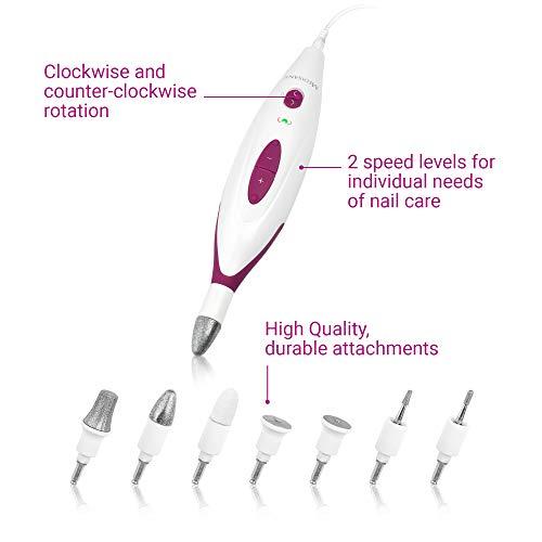 Medisana MP 815 elektrisches Maniküre und Pediküre-Set mit 7 Nagelpflege Aufsätzen, 2 Geschwindigkeitsstufen für Nägel, Nagelhaut und Hornhaut