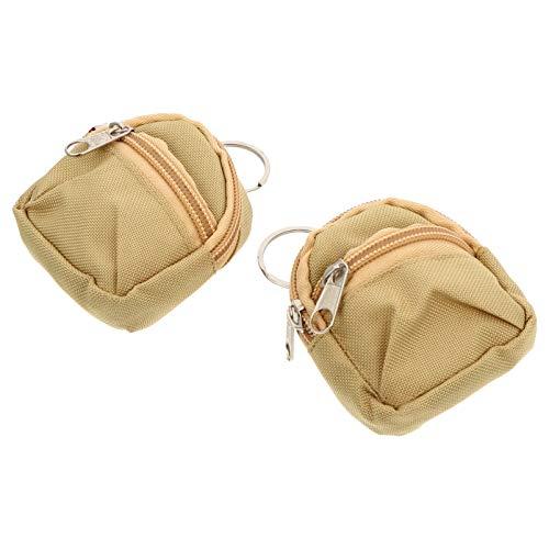 SOIMISS 2 Stück Mini Rucksack Schlüsselanhänger Reißverschluss Münze Geldsack Kleine Brieftaschen Hängen Anhänger für Puppenzubehör Ostern Neujahr Party Gunst Khaki