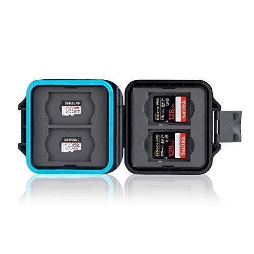 Schutzhülle • Aufbewahrung • Box • Speicherkarten Schutzbox • Memory Card Hülle • Card Safe • Tasche • Etui für 4 x SD Karten & 4 x Micro SD & Sim Karten • Tragekordel & Simnadel (MCR-ST8)