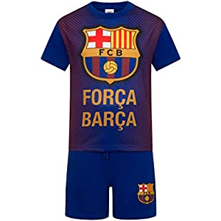 FC Barcelona Official Football Boys Sublimation Short Pyjamas Blue 10-11 Years:Netac2